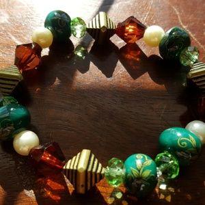 Jewelry - Women's hand-painted porcelain beaded bracelet